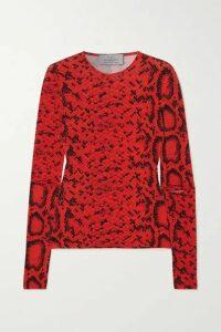 Preen by Thornton Bregazzi - Snake-print Stretch-crepe Top - Red