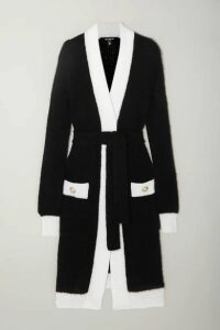 Balmain - Belted Two-tone Ribbed-knit Cardigan - Black