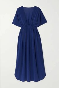 Eres - Mira Pleated Stretch-jersey Kaftan - Navy