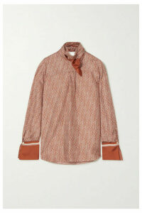 Chloé - Tie-neck Printed Silk-twill Blouse - Brown