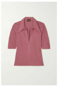 Albus Lumen - Ribbed Cotton-blend Terry Polo Shirt - Pink