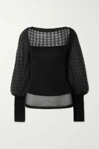 Roland Mouret - Drum Patchwork Pointelle-knit Top - Black