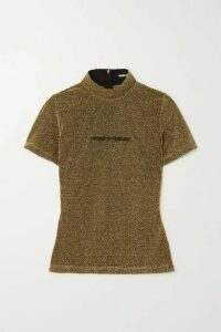 House of Holland - Embroidered Metallic Knitted T-shirt - Gold