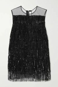 Halpern - Sequin-embellished Fringed Chiffon Top - Black