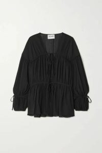 TOVE - Deia Gathered Silk-georgette Blouse - Black