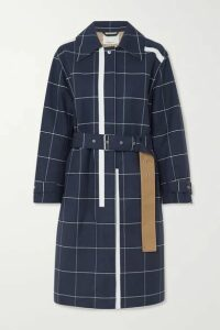 3.1 Phillip Lim - Belted Checked Cotton-blend Garbadine Trench Coat - Navy