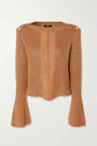 Balmain - Button-embellished Metallic Cable-knit Sweater - Brown