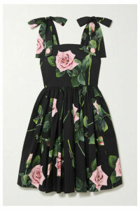 Dolce & Gabbana - Tie-detailed Floral-print Cotton-poplin Dress - Black