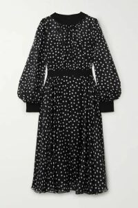 Dolce & Gabbana - Polka-dot Silk-blend Chiffon Midi Dress - Black