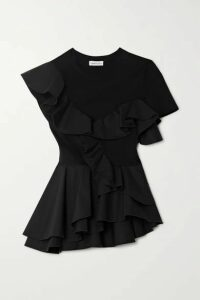 Alexander McQueen - Ruffled Sateen And Cotton-jersey Peplum T-shirt - Black