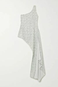 Halpern - One-shoulder Sequined Georgette Top - Silver