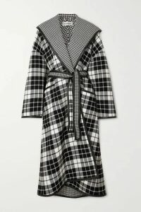 Balenciaga - Oversized Hooded Checked Wool And Cashmere-blend Coat - Black