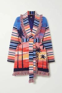 Alanui - Malibu Sunset Belted Fringed Cashmere-blend Jacquard Cardigan - Pink