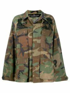 John Richmond sequin-embellished camouflage-print jacket - Green