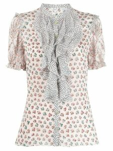 Liberty London Vita mixed-print ruffled blouse - PINK