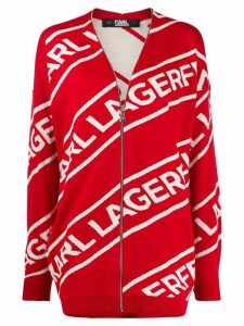 Karl Lagerfeld zip jacquard cardigan - Red