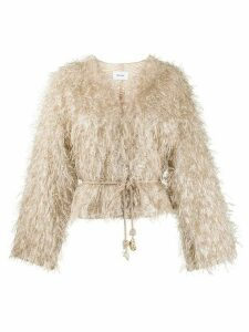 Nanushka waist-tied embroidered jacket - NEUTRALS