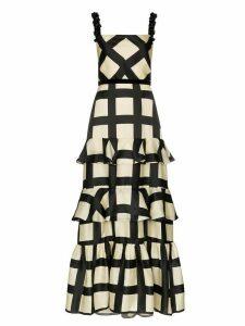Johanna Ortiz ruffled checked silk gown - Black