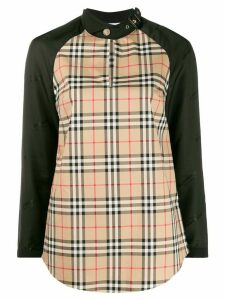 Burberry check buckle collar blouse - NEUTRALS