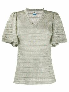 M Missoni striped ruffled-sleeved top - Blue