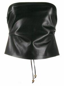 Nanushka lace-up bandeau top - Black