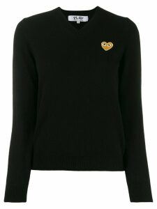 Comme Des Garçons Play long sleeve V-neck sweater - Black