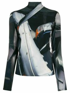 Peter Do Junkyard-print fitted top - Black