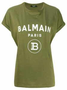 Balmain logo print oversized T-shirt - Green