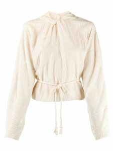 Nanushka long-sleeve pleated top - NEUTRALS