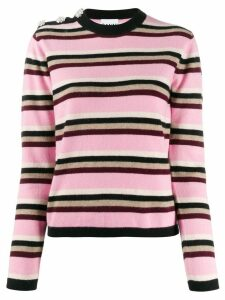 GANNI striped cashmere jumper - PINK