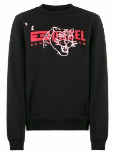 Diesel long sleeve printed logo sweater - Black