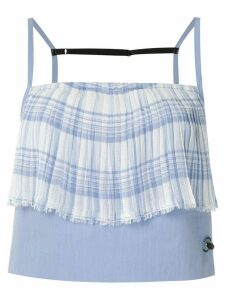 À La Garçonne pleated panel cropped top - Blue