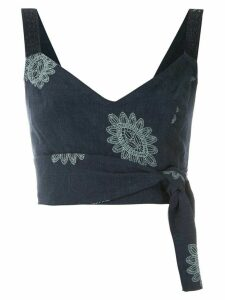 Martha Medeiros Karen Greta embroidered crop top - Blue