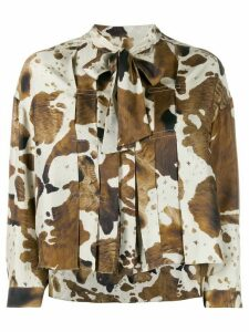 Golden Goose horse print pleated blouse - NEUTRALS