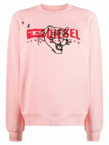 Diesel long sleeve printed logo sweater - PINK