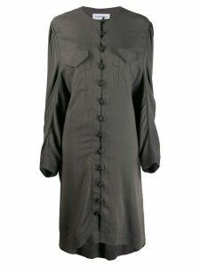 Situationist oversized toggle-fastening shirt dress - Grey