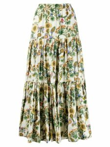 La Doublej x Mantero Thistle print flared skirt - Green