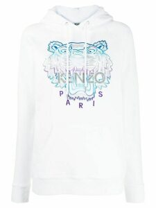 Kenzo Tiger logo embroidered hoodie - White
