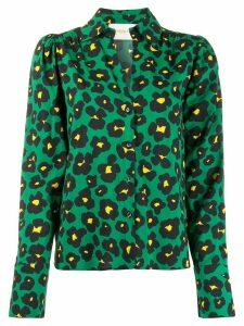 La Doublej x Mantero Viola Flower Leopard blouse - Green