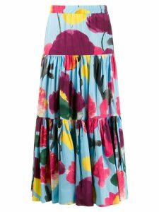 La Doublej x Mantero Prom Azzurro print flared skirt - Blue
