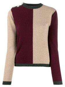 GANNI crystal-embellished colour-block cashmere jumper - Red