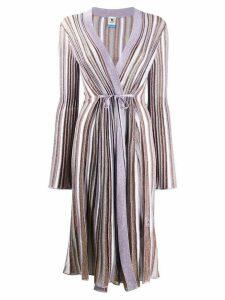 M Missoni metallic knit longline cardigan - PURPLE