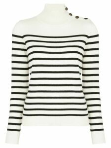 Nili Lotan striped mock-neck jumper - White