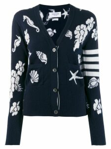 Thom Browne 4-Bar Ocean Floor V-Neck Cardigan - Blue