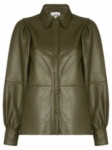 GANNI leather shirt jacket - Brown