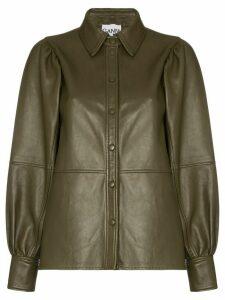 GANNI leather shirt jacket - Brown