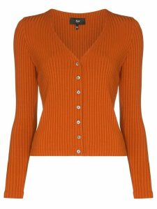 3x1 V-neck ribbed cardigan - ORANGE
