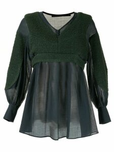 Muller Of Yoshiokubo contrast long-sleeve blouse - Green