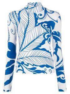 La Doublej x Mantero Marea Blu printed turtleneck top - Blue