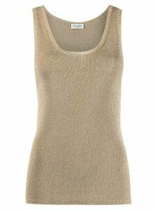 Saint Laurent metallic scoop-neck vest - GOLD